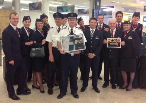 British Airways Crew, lead by Thomas Clark Escort James Bond from customs
