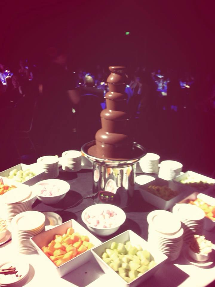 Chocolate fountain at the Escape Afterparty