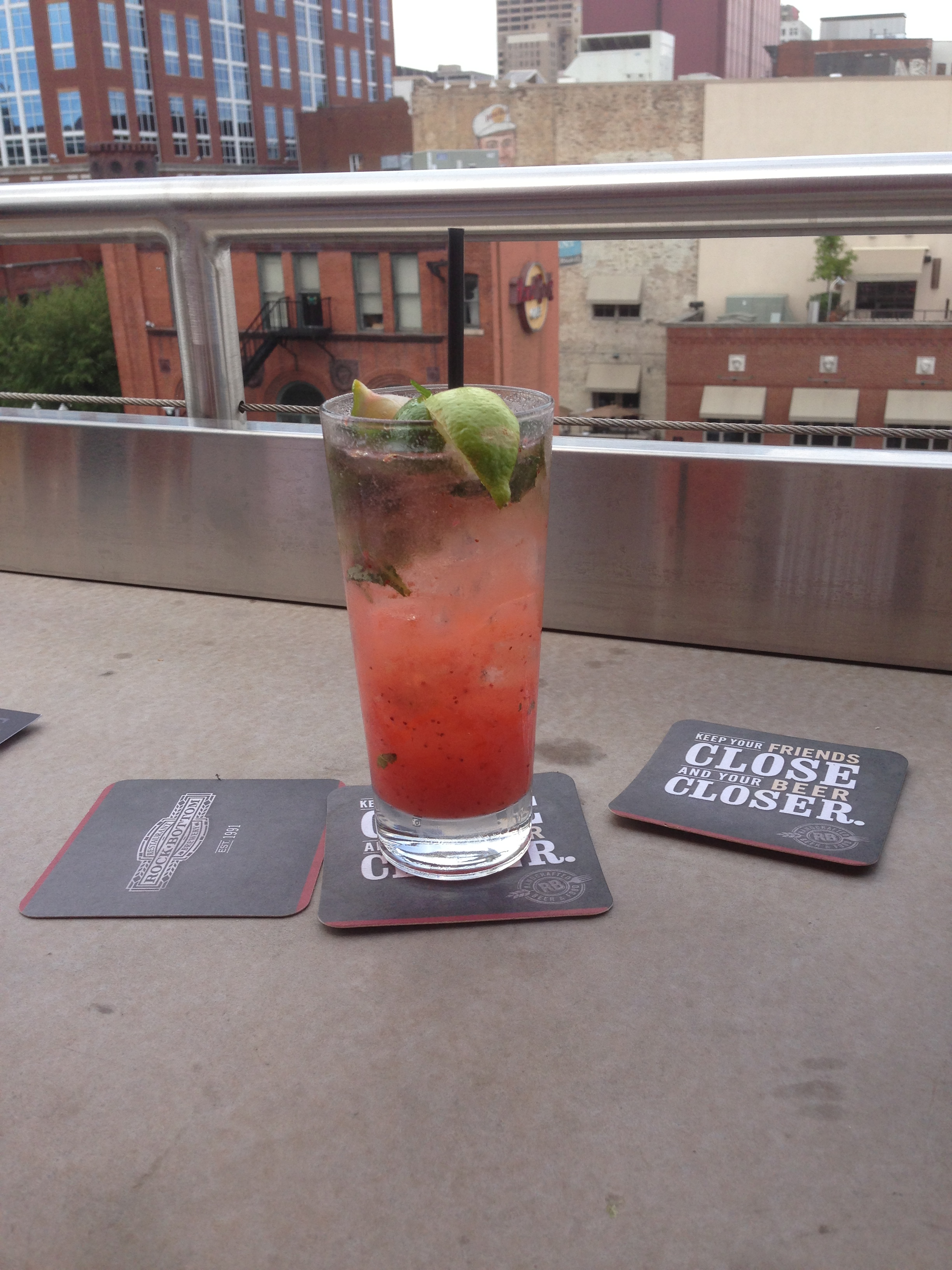 3pm: A Dragonfruit Mojito at the rooftop bar of 'Rock Bottom' hotel. A sign of things to come?