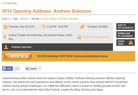 BOOK NOW: 2014 Opening Address: Andrew Solomon