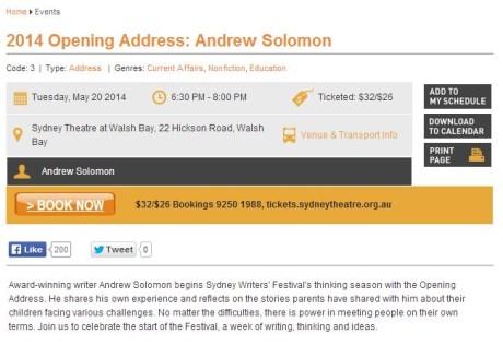 BOOK NOW: 2014 Opening Address: Andrew Solomon