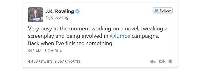 Rowling Tweet 1