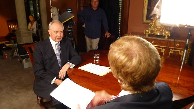 Paul Keating being interviewed by Kerry O'Brien on the documentary Keating: The Interviews.