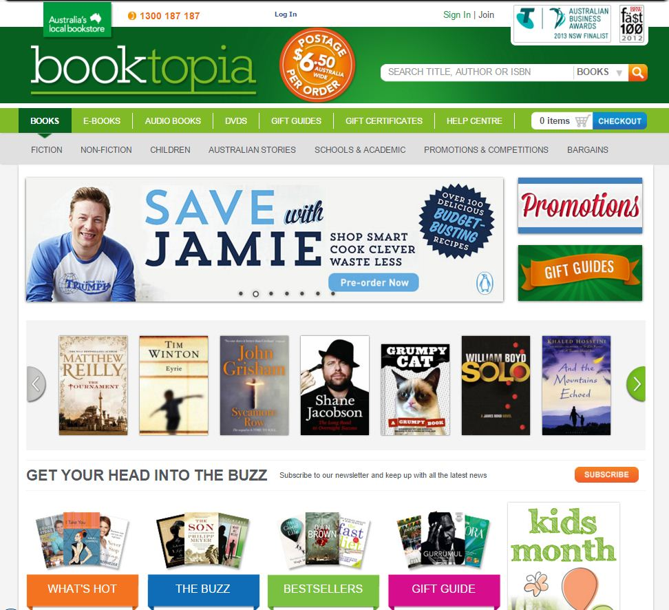 Look at that pretty new website! That's right, the website you see today, pictured here in 2013. In this month we also moved into a 10,000 square metre HQ. We also won Best Online Bookstore at the 2013 Australian Book Industry Awards, and were voted Australia's Favourite Bookstore by readers. Big year!