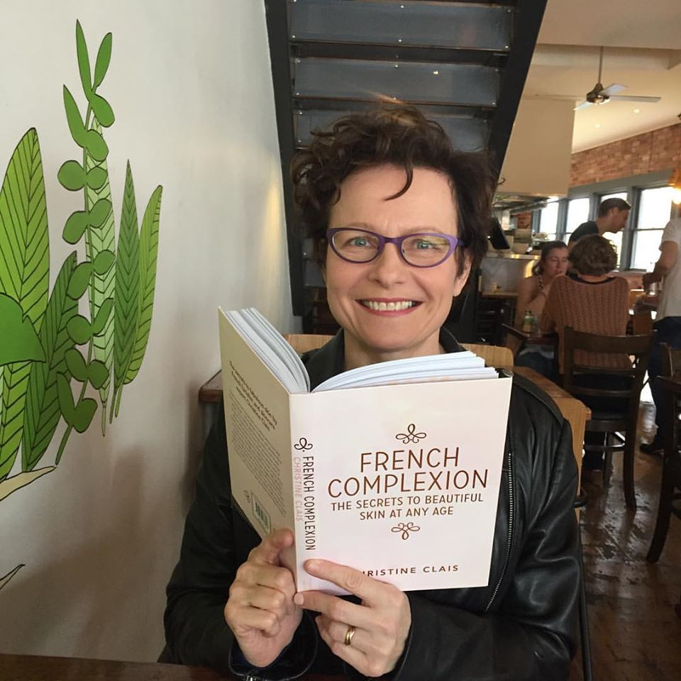 Christine Clais with her book, French Complexion
