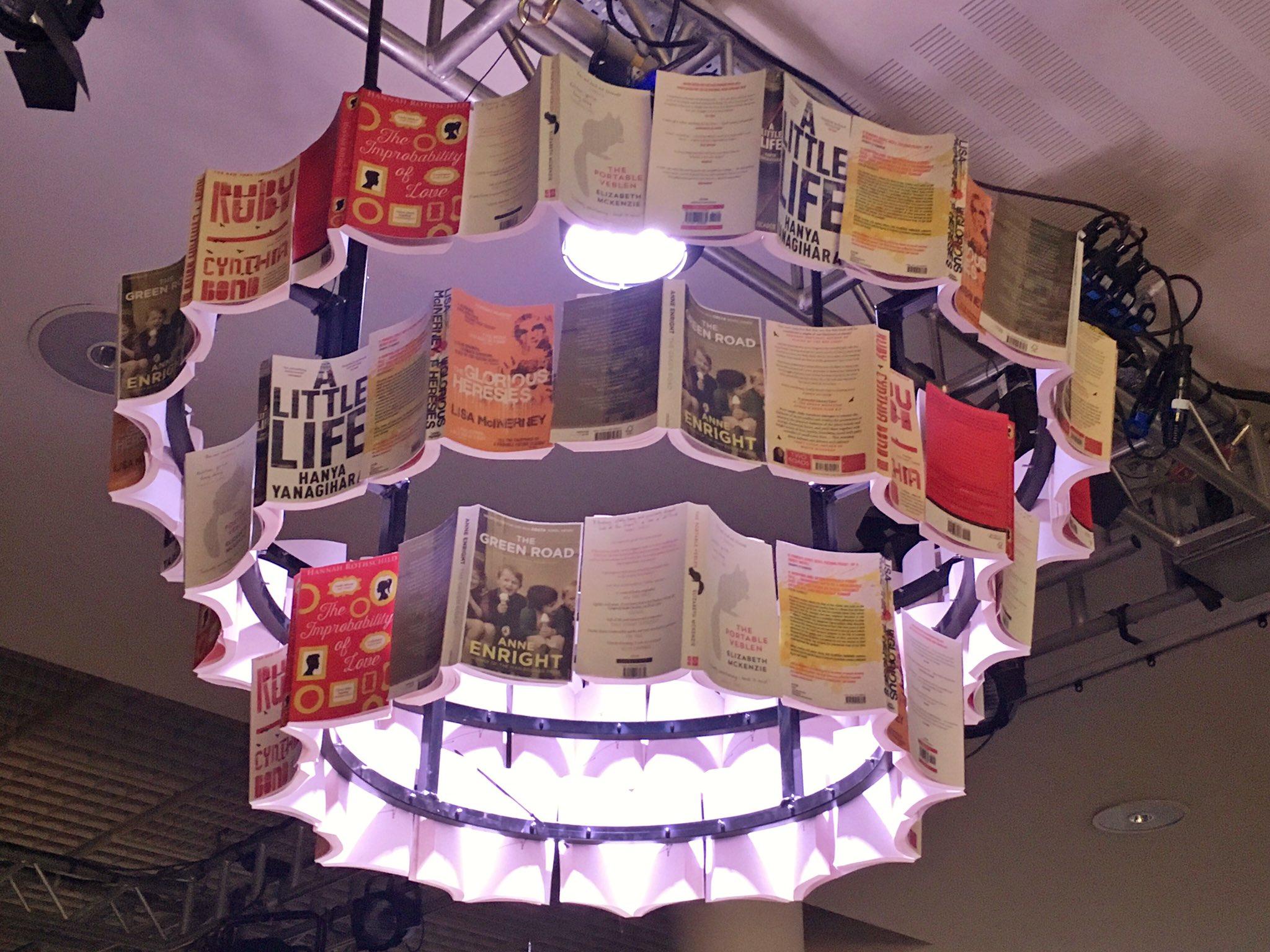 book chandeliers featuring the 2016 #BaileysPrize shortlist!