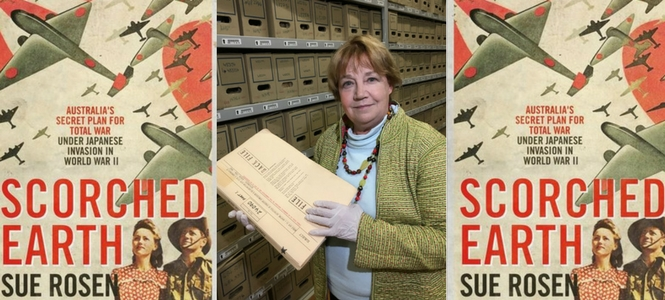 Sue showing her archive box where she made the discovery
